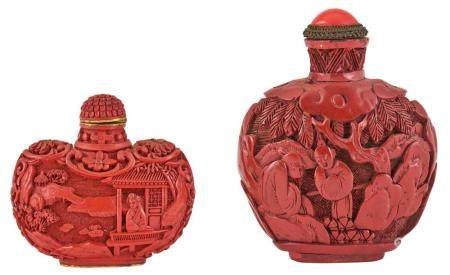 Two Chinese Cinnabar Lacquer Snuff Bottles