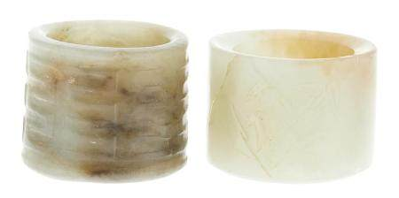 Two Chinese Carved Jade Thumb Rings
