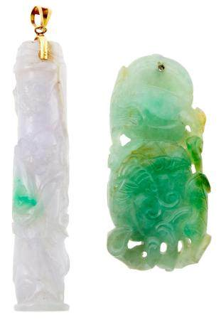 Two Chinese Jadeite Carvings