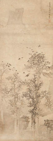 Attributed to Xiang Shengmo (1597-1658)  Crows in Wintery Trees, 1645
