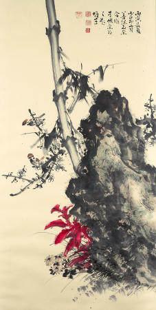 Zhao Shaoang (1905-1998), Li Xiongcai (1910-2001), Guan Shanyue (1912-2000) and Yang Shanshen (1913-2004) collaborative work Flower and Bird, 1986