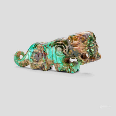 A Turquoise matrix tiger pendant  Shang/Western Zhou or later