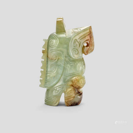 A grey-celadon, russet and black Jade owl pendant  Shang dynasty or later