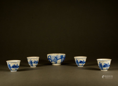 Qing Dynasty - a set of blue and white character cups