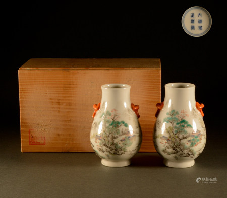 Qing Dynasty - A pair of pastels
