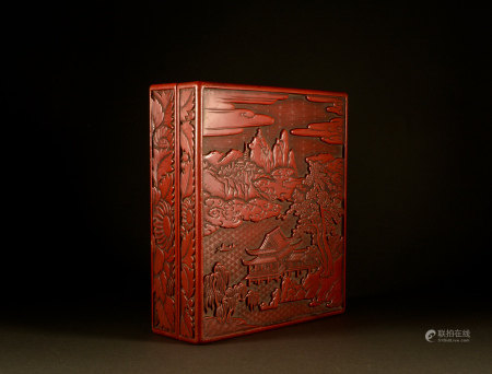 Qing Dynasty - Four treasures of landscape and Study in large lacquer figures
