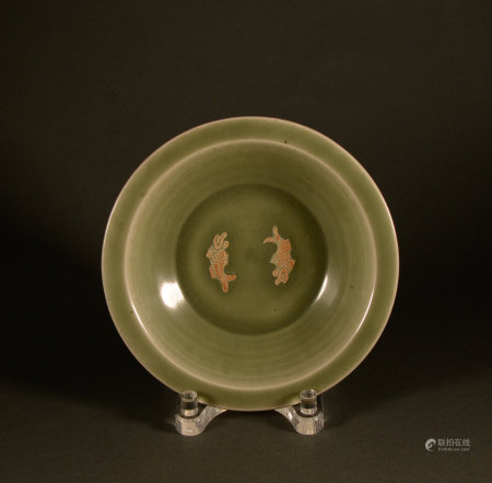 Longquan Double Fish Dish in Ming Dynasty