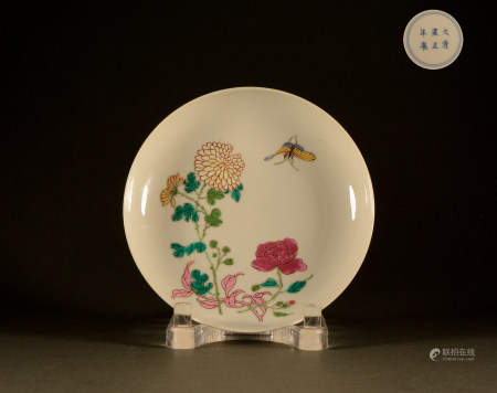 Qing Dynasty - Pastel flower plate