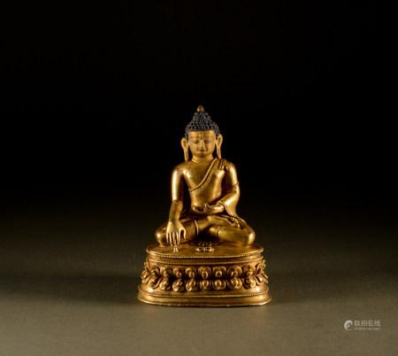 15th century - Tibetan gilt seated Buddha Sakyamuni