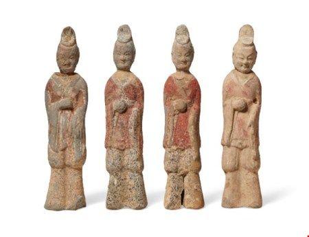 中国 北魏 彩绘陶士官俑四件 CHINA, NORTHERN WEI DYNASTY (AD 386-534)