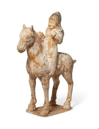 中国 唐 彩绘骑马陶俑 CHINA, TANG DYNASTY (AD 618-907)