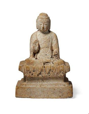 中国 唐 石雕佛坐像 CHINA, TANG DYNASTY (AD 618-907)