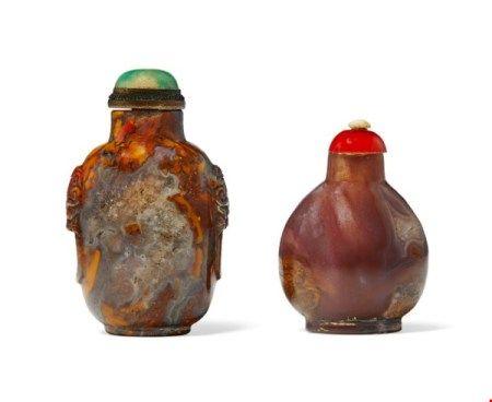 中国 清十八/十九世纪 玛瑙鼻烟壶两件 CHINA, 18TH-19TH CENTURY