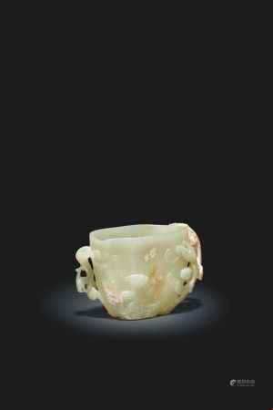 中国 明 青黄玉雕螭龙把盃 CHINA, MING DYNASTY (1368-1644)