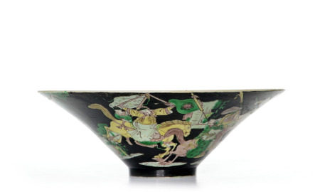 A Large Chinese Famille Verte Conical Bowl