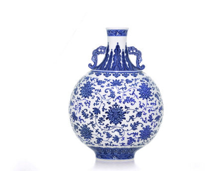 A Magnificent Chinese Blue and White Moonflask