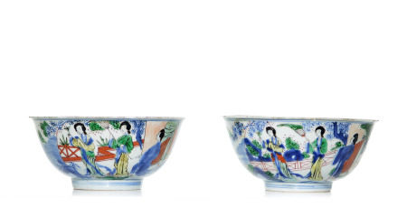 A Rare Pair of Chinese Famille Verte Bowls