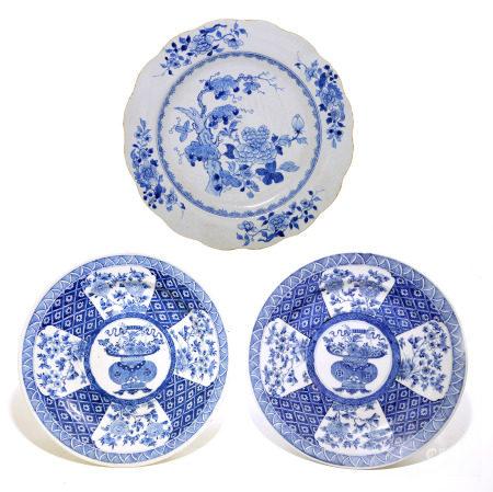 Three Chinese Blue and White Plates