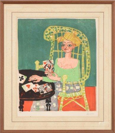 Paul Aizpiri保羅·艾斯皮里 玩撲克牌的女人 版畫