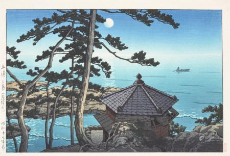 川瀨巴水 五埔之月 浮世繪木版畫