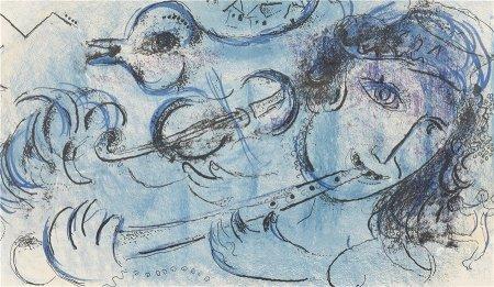 馬克·夏加爾 吹笛 版畫