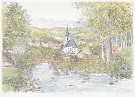 作者不詳 森林中的教堂 版畫