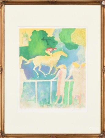 Paul Guiramand保羅·吉夏芒德 賽馬於風車 版畫