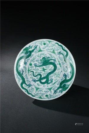 清代 青花綠彩雲龍戲珠紋盤