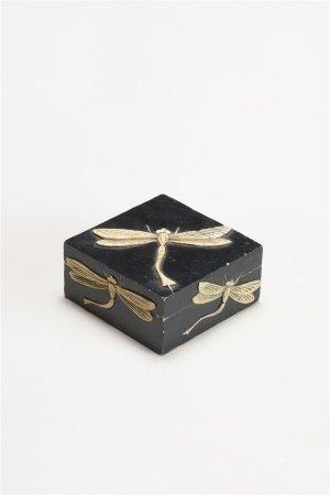 壽山石黑彩留白蜻蜓紋四方蓋盒