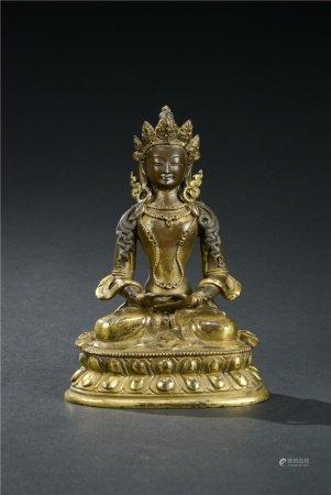 近現代 銅鎏金無量壽佛座像