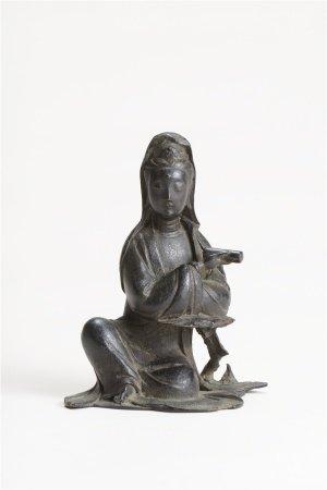 清早期 銅執經卷觀音座像