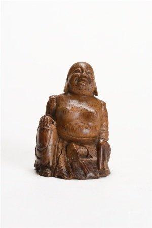 竹根雕彌勒座像