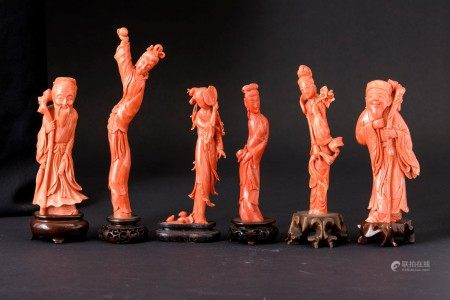 Six coral figures, China, early 1900s, Six coral figures, China, early 1900s