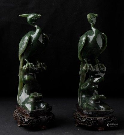 Two jade birds of paradise, China, Qing Dynasty, Two jade birds of paradise, China, Qing Dynasty