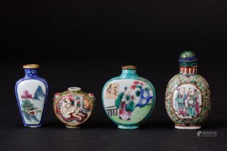 Lotto composto da quattro snuff bottles in porcellana raffiguranti differenti soggetti e iscrizioni, Cina, Dinastia Qing, XIX secolo, Lotto composto da quattro snuff bottles in porcellana raffiguranti differenti soggetti e iscrizioni, Cina, Dinastia Qing, XIX secolo