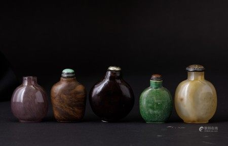 Five snuff bottles, China, Qing Dynasty, 1800s, Five snuff bottles, China, Qing Dynasty, 1800s