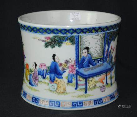 A blue and white figural brushpot, Kangxi mark