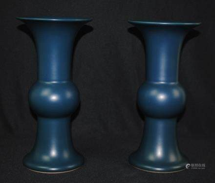 A pair of blue glazed vases, Yongzheng mark