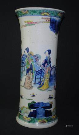 A blue and white wucai figural vase