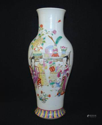 A famille rose figural vase with outline in gold, Qianlong mark
