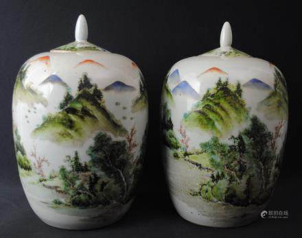 A pair of famille rose jars, Tongzhi mark
