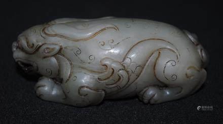 A hetian jade tiger figure