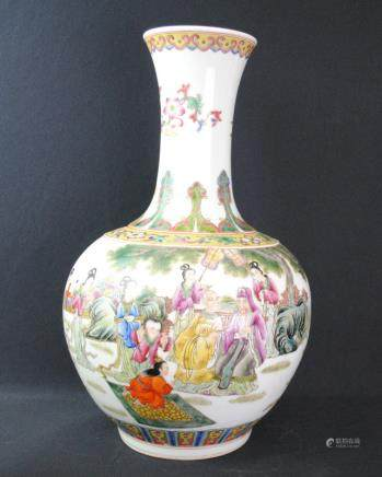 A famille rose figural rase, Qianlong mark