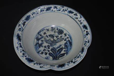 A blue and white floral bowl