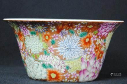 A famille rose floral bowl, Daoguang mark