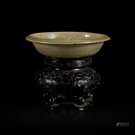 A SMALL CHINESE YAOZHOU CELADON MOLDED BRUSH WASHER 耀州窑印花小水洗 NORTHERN SONG/JIN DYNASTY 北宋或金