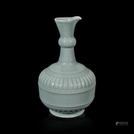 """A CHINESE """"CLAIRE DE LUNE"""" OR PALE CELADON-GLAZED POURING VESSEL, HUAJIAO 粉青釉花浇 YONGZHENG SIX-CHARACTER SEAL MARK AND POSSIBLY OF THE PERIOD 雍正六字款 或清雍正"""