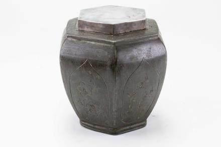 六角錫茶葉罐(附箱)