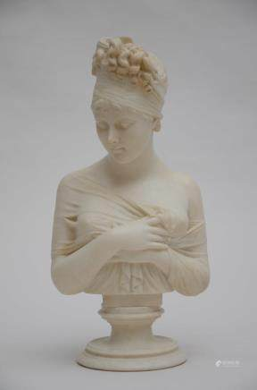An alabaster bust of a young lady (58cm)