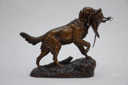 E.Lienard: a bronze sculpture 'hunting dog' (21x50x39cm)
